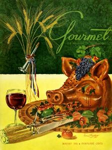 Gourmet Cover - January 1951 by Henry Stahlhut