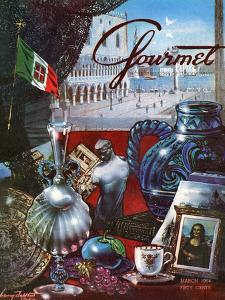 Gourmet Cover - March 1954 by Henry Stahlhut