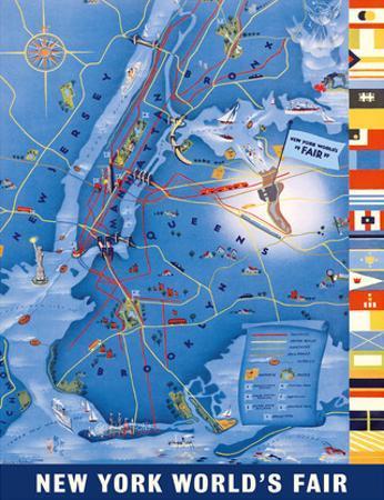 New York City Map - World's Fair 1939