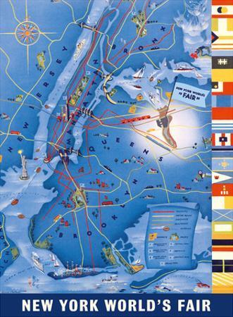 New York City Map - World's Fair 1939 by Henry Stahlhut