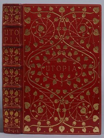 A Crushed Red Levant Morocco Gilt Binding of Utopia by Sir Thomas More. Kelmscott Press, 1893