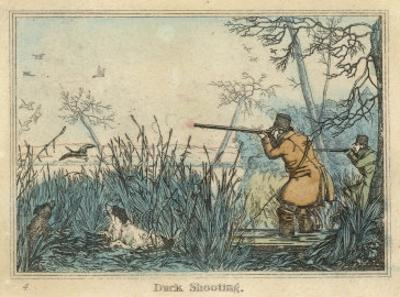 Duck, Two Men and Their Dogs Shoot Duck from the Banks of a Lake