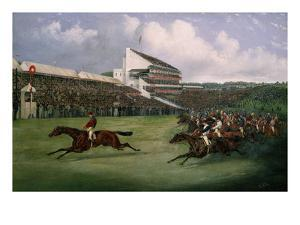 Finish of the Derby in 1865 (Won by Gladiator, Owned by the Count of Legrange) by Henry Thomas Alken