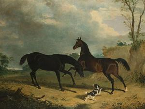 Hunters and a Spaniel in a Wooded Landscape, 1835 by Henry Thomas Alken