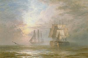 Men of War at Anchor, 1873 by Henry Thomas Dawson