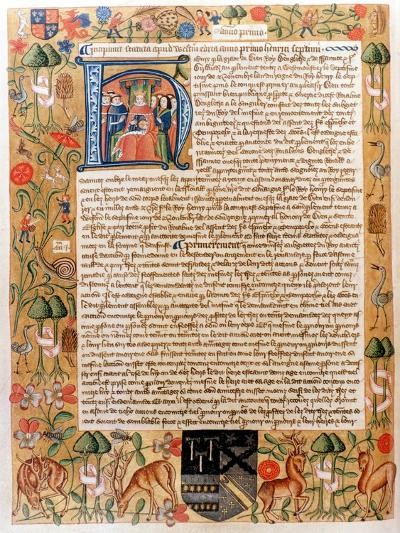 Henry VII's First Act of Parliament with an Initial Portrait of the King, Late 1480S--Giclee Print
