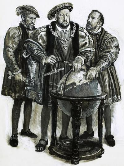 Henry VIII Agrees to Plans to Sail to China by a North-East Passage-Clive Uptton-Giclee Print