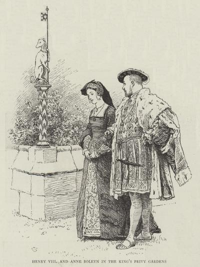 Henry VIII and Anne Boleyn in the King's Privy Gardens-Charles Green-Giclee Print