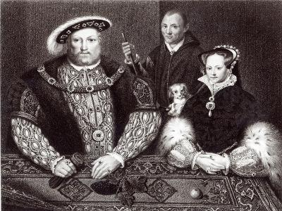 Henry VIII, his daughter Queen Mary and Will Somers, 1821--Giclee Print