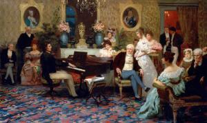 Chopin Playing the Piano in Prince Radziwill's Salon, 1887 by Henryk Siemiradzki