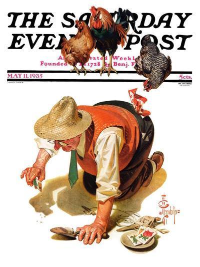 """Hens and Gardner,"" Saturday Evening Post Cover, May 11, 1935-Joseph Christian Leyendecker-Giclee Print"