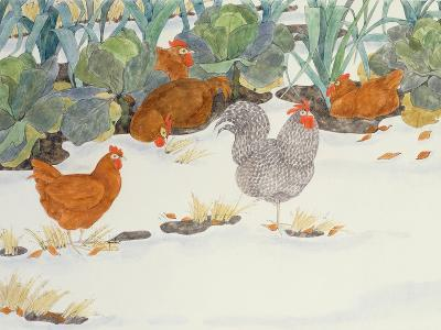 Hens in the Vegetable Patch-Linda Benton-Giclee Print