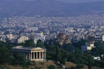 Hephaistion Temple Overlooking Athens-Paul Souders-Photographic Print