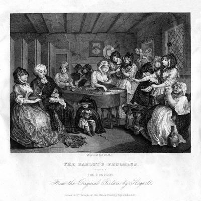 Her Funerall Properly Attended, Plate VI of 'The Harlot's Progress, 1833-J Stubbs-Giclee Print