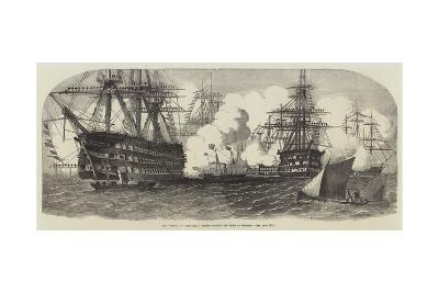 Her Majesty, in The Fairy, Passing Through the Fleet at Spithead--Giclee Print