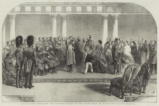 Her Majesty Inspecting the Wounded Guards in the Grand Hall of Buckingham Palace-Sir John Gilbert-Giclee Print