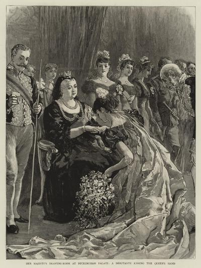 Her Majesty's Drawing-Room at Buckingham Palace, a Debutante Kissing the Queen's Hand--Giclee Print
