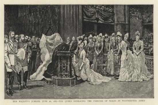 Her Majesty's Jubilee, 21 June 1887, the Queen Embracing the Princess of Wales in Westminster Abbey--Giclee Print
