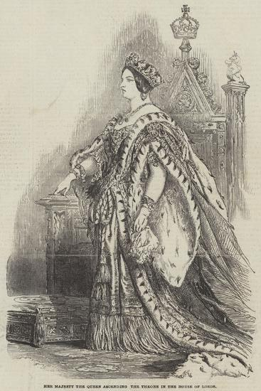 Her Majesty the Queen Ascending the Throne in the House of Lords--Giclee Print