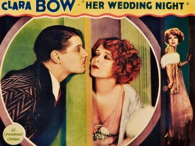 HER WEDDING NIGHT, l-r: Ralph Forbes, Clara Bow on lobbycard, 1930--Art Print