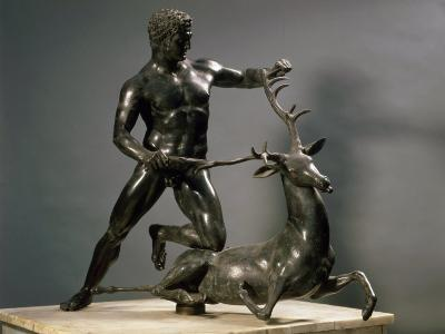 Herakles Wrestling the Hind of Ceryneia, One of his Twelve Labours, Bronze--Photographic Print
