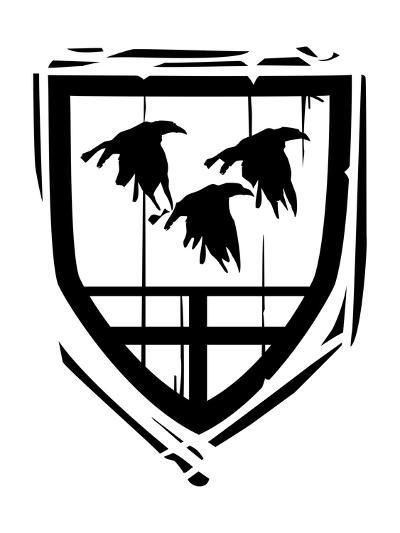 Heraldic Shield Ravens-JeffreyThompson-Art Print