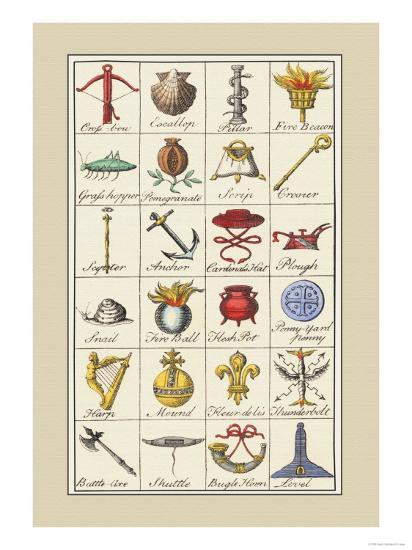 Heraldic Symbols Crossbow And Escallop Art Print By Hugh Clark Art Com