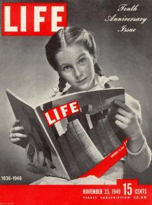 10th Anniversary Features Young Girl Reading First Issue of LIFE, November 25, 1946 by Herbert Gehr