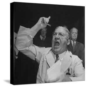 William J. Jung Shouting on Floor of Stock Exchange by Herbert Gehr