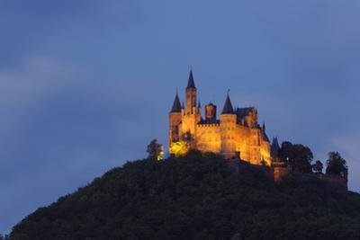 Germany, Baden-Wurttemberg, Castle Hohenzollern, Lighting, Evening