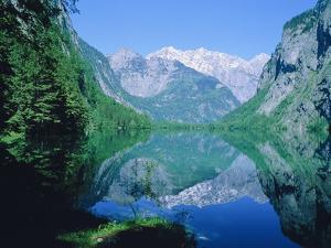 Lake 'Obersee' and ' Watzmann' mountain, Bavaria, Berchtesgarden, Germany by Herbert Kehrer
