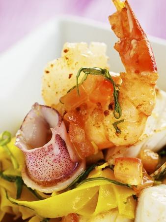 Saffron Tagliolini with Seafood
