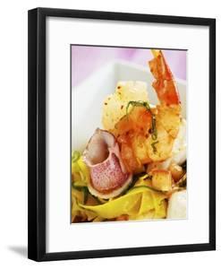 Saffron Tagliolini with Seafood by Herbert Lehmann
