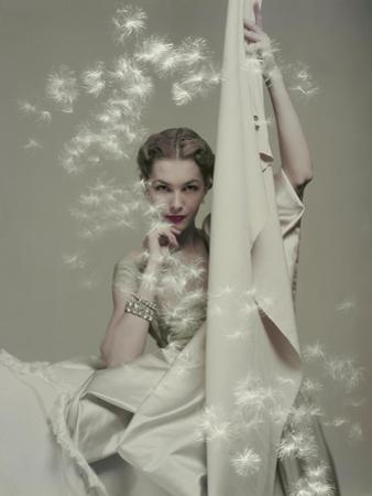 Model Seated in Silk Taffeta Dress, Holding Yards of Silk, by Ducharne and C. M. Gourdon