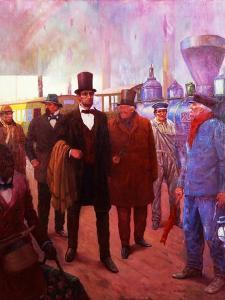Lincoln Visiting by Railroad by Herbert Stitt