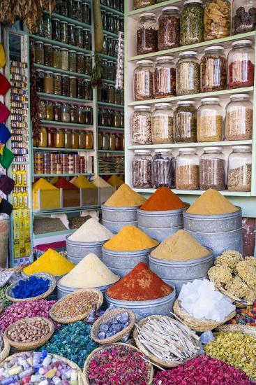 Herbs and Spices for Sale in Souk, Medina, Marrakesh, Morocco, North Africa, Africa-Stephen Studd-Photographic Print