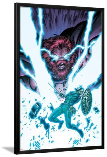 Herc No.9 Cover: Hercules and Zeus Fight in Lightning and Energy-Tom Grummett-Lamina Framed Poster