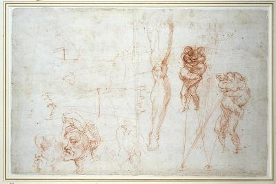 Hercules and Antaeus and Other Studies, C.1525-28-Michelangelo Buonarroti-Giclee Print