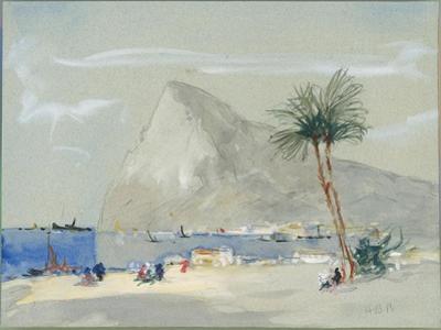 Gibraltar (W/C on Paper) by Hercules Brabazon Brabazon