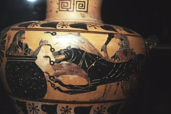 Hercules bring Cerberus to Eurystheus (sheltering in the large jar), c6th century BC-Unknown-Giclee Print