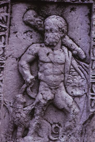 Hercules with Cerberus from a Sarcophagus in Asia Minor (Hellenstic Period), 20th century-Unknown-Photographic Print