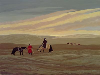 Herding Camel Train, Inner Mongolia-Vincent Haddelsey-Giclee Print