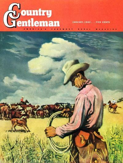 """""""Herding Cattle,"""" Country Gentleman Cover, January 1, 1942-George Schreiber-Giclee Print"""