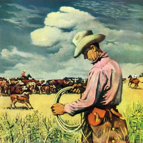 """Herding Cattle,""January 1, 1942-George Schreiber-Giclee Print"
