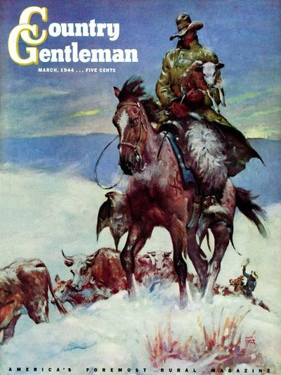 """""""Herding in Winter Storm,"""" Country Gentleman Cover, March 1, 1944-Matt Clark-Giclee Print"""