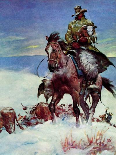 """""""Herding in Winter Storm,""""March 1, 1944-Matt Clark-Giclee Print"""