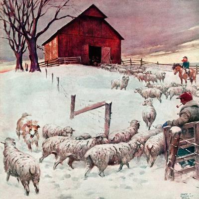 """Herding Sheep into Barn,""February 1, 1946-Matt Clark-Giclee Print"