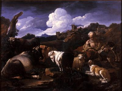Herdsman with His Flock-Philipp Peter Roos-Giclee Print