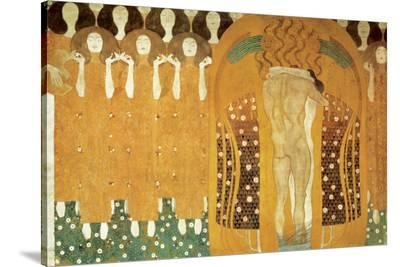 Here's a Kiss to the Whole World, Beethoven Frieze (detail), 1902-Gustav Klimt-Stretched Canvas Print
