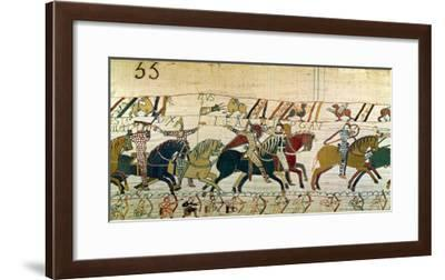 Here the French are Fighting, Detail from the Bayeux Tapestry, Before 1082--Framed Giclee Print